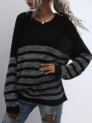Fall Winter New Loose Round Neck Long Sleeve Striped Medium Long Knitted Sweater