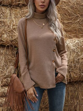 Fall Winter New High-neck Solid Color Long Sleeve Irregular Side Single Breasted Split Loose Knitted T-shirt