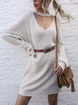 Women New Halter V-Neck Long Sleeve Colorful Knitted Loose Short Sweater Dress