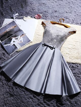 Women New French Satin Wedding Bridesmaid Evening Dress Lace Stitching Bowknot Short Homecoming Dresses