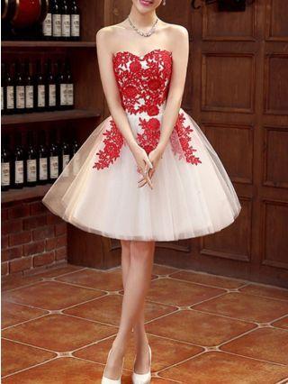 Fall Winter New Women Short Tube Dress Applique Gauze Back Lace-up Banquet Bridesmaid Evening Dresses