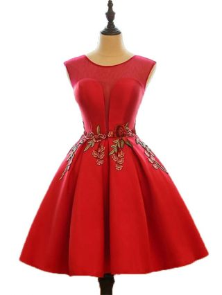 Red Banquet Mini Dress Women Sleeveless Round Neck Flowers Embroidery Bridesmaid Evening Swing Dresses