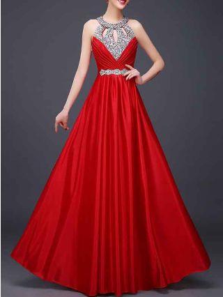 Women New Red Wedding Bridesmaid Dress Sleeveless Rhinestone Hollow Halter Open Back Maxi Evening Dresses