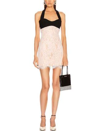 Spring Summer New Halter Backless Sexy Bandage Dress Women Lace Stitching Evening Party Mini Dresses