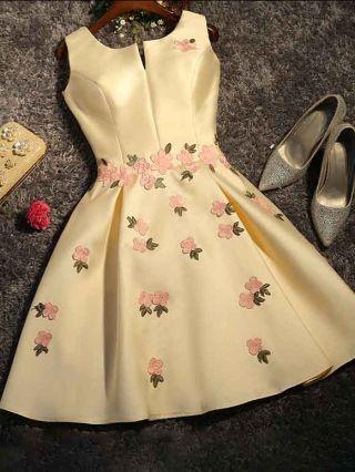 Women New Sleeveless U-Neck Pink Flowers Embroidery Back Lace-up Mini Bridesmaid Evening Dress