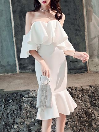 Fall New Women Tube Top Off the Shoulder Ruffled Short Sleeve Mermaid Party Evening Dress