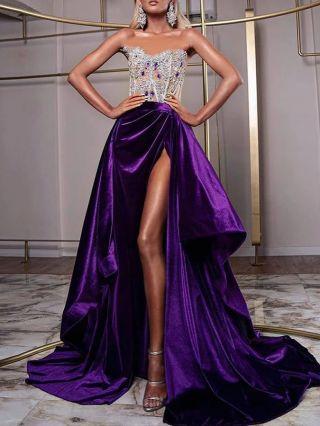 Women Sexy Rhinestone Sequins Tube Top Stitching Maxi Split Party Evening Dress