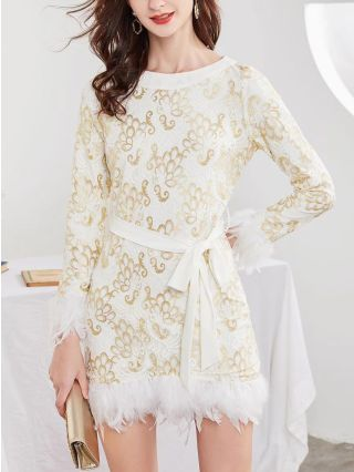 Women Feather Mini Dress Lace Jacquard Long Sleeve Round Neck Belted Birthday Party Evening Dresses