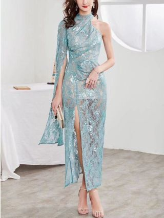 Women Sexy One Shoulder Long Sleeve Half High-neck Lace Sequins Maxi Split Evening Prom Dress
