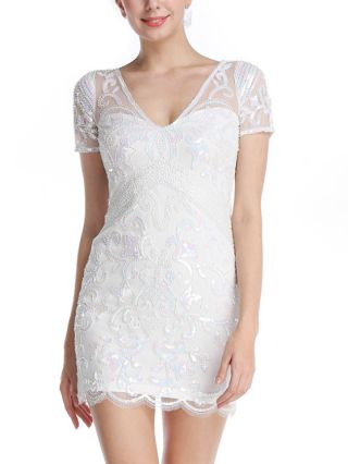 Women Sexy Sequins Beading Embroidery Mini Dress V-Neck Short Sleeve Backless Bodycon Evening Dresses