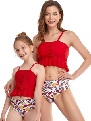 Parent-child Bikinis Straps Open Back Floral Printed Swimwear Lace-up High Waisted Two Piece Bathing Suits