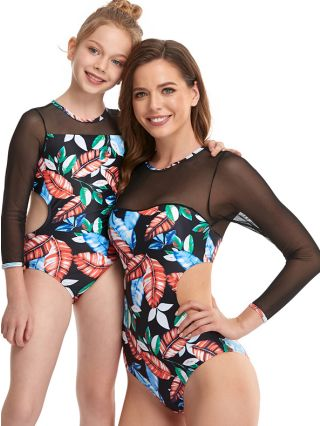 Parent-child One-Piece Swimsuit Long Sleeve Round Neck Gauze Stitching Swimwear Printed Cut Out Women Girl Bathing Suits