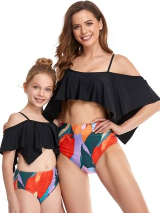 Parent-child Bikinis Straps Ruffled Backless Swimwear Printed High Waisted Two Piece Bathing Suits