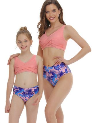 Parent-child Bikinis Floral Printed Stitching Color Swimwear High Waisted Two Piece Bathing Suits
