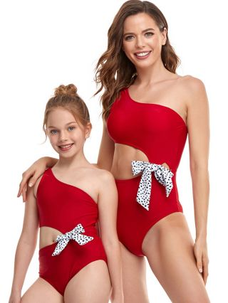 Parent-child One-Piece Swimsuit One Shoulder Sleeveless Printed Swimwear Cut Out Bowknot Bathing Suits