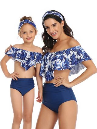 Parent-child Bikinis Off the Shoulder Ruffled Swimwear Printed High Waisted Two Piece Bathing Suits