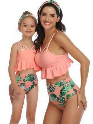 Parent-child Tankinis Ruffled Open Back Swimwear Printed High Waisted Two Piece Bathing Suits
