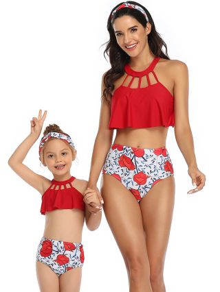 Parent-child Bikinis Sleeveless Round Neck Hollow Swimwear Floral Printed High Waisted Two Piece Bathing Suits