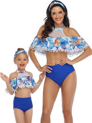 Parent-child Bikinis Hollow Tassels Swimwear Floral Printed High Waisted Two Piece Bathing Suits