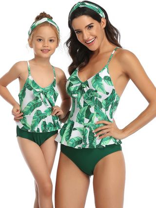 Parent-child Tankinis Straps Open Back Swimwear Bowknot Printed Triangle Two Piece Bathing Suits