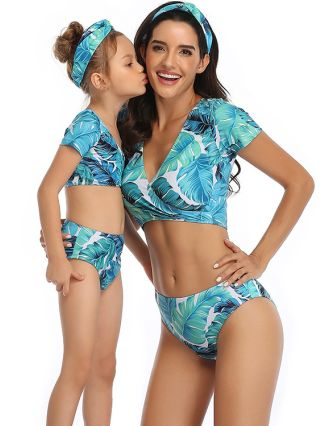 Parent-child Swimsuit V-Neck Short Sleeve Leaves Printed Swimwear Leopard Print High Waisted Two Piece Bathing Suits