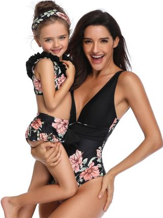 Parent-child One-Piece Swimsuit Deep V-Neck Open Back Swimwear Floral Printed Belted Two Piece Bathing Suits