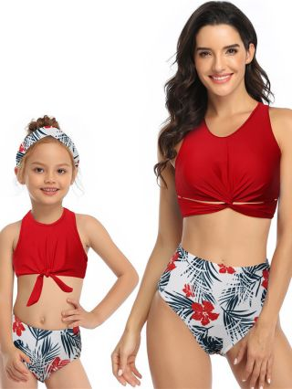 Parent-child Tankinis Sleeveless Round Open Back Swimwear Leaves Floral Printed High Waisted Two Piece Bathing Suits