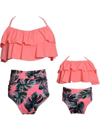 Parent-child Bikinis Double Layer Ruffled Halter Swimwear Polka Dot Floral Printed High Waisted Two Piece Bathing Suits