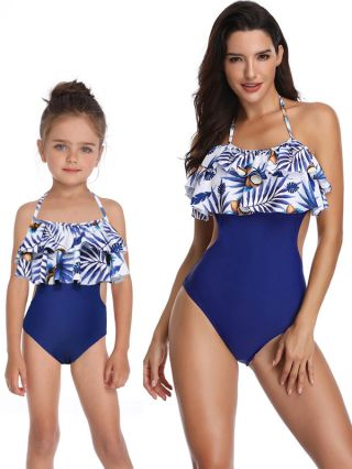 Parent-child One-Piece Swimsuit Ruffled Halter Swimwear Coconuts Printed Open Back Bathing Suits