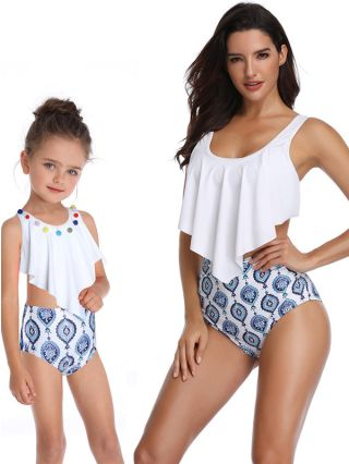 Parent-child Tankinis Sleeveless Ruffled Open Back Swimwear Floral Printed High Waisted Two Piece Bathing Suits
