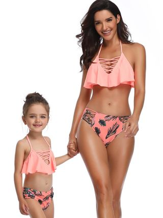 Parent-child Bikinis Halter Ruffled Hollow Swimwear Leaves Printed Low Waisted Two Piece Bathing Suits