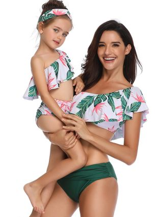 Parent-child Swimsuit One Shoulder Ruffled Swimwear Leaves Printed Two Piece Bathing Suits