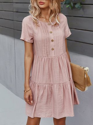 Summer Dress Solid Color Short Sleeve Round Neck Single Breasted Casual Short Dresses