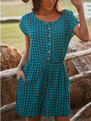 Fashion Plaid Short Sleeve Round Neck Single Breasted Pockets Belted Wide Leg Rompers