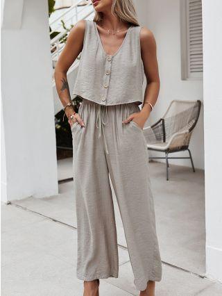 Spring Summer Two Piece Set Sleeveless V-Neck Single Breasted Vest Tops Drawstring Wide Leg Pants