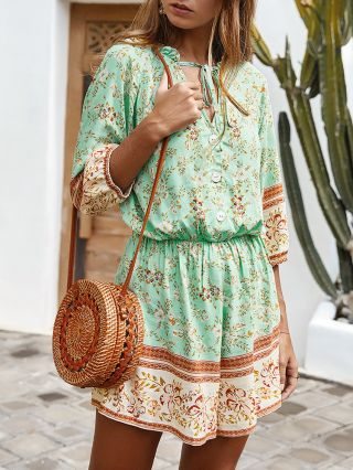 Spring Summer Three Quarters Sleeve Ruffled V-Neck Floral Printed Loose Wide Leg Bohemian Rompers