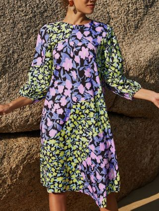 Women Loose Long Sleeve Round Neck Floral Printed Stitching Color Casual Midi Dress