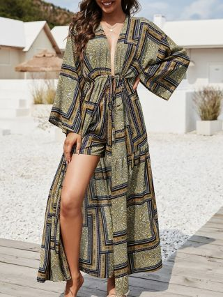Women Long Sleeve Printed Bikinis Cover-up Belted Maxi Beach Dresses