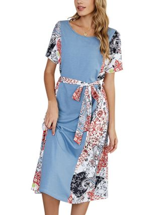 Spring Summer Women Stitching Color Printed Short Sleeve Round Neck Loose Casual Long Dresses