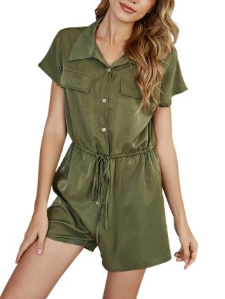 Spring Summer Women Lapel Short Sleeve Single Breasted Drawstring Casual Rompers