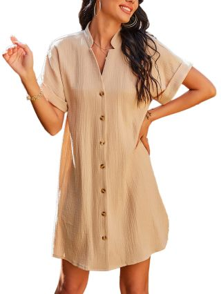 Women Solid Color Loose Casual Stand Collar Short Sleeve Single Breasted Short A-Line Summer Dress