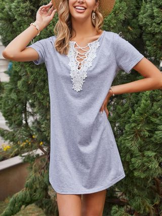 Spring Summer Women Lace Hollow Stitching V-Neck Short Sleeve Loose Knitted Casual A-Line Dress