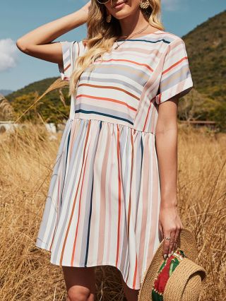 Summer Dress Loose Short Sleeve Round Neck Multicolor Striped Casual A-Line Dresses