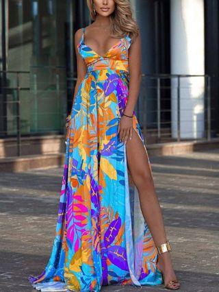 Summer Dress Straps Deep V-Neck Leaves Printed Maxi Split Floor Length Bohemian Dresses