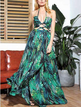 Summer Dress Halter Sleeveless Open Back Leaves Printed Cut Out Floor Length Maxi Split Dresses