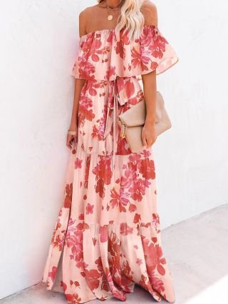 Off the Shoulder Ruffled Floral Printed Gradient Color Belted Multi-layered Maxi Summer Dress