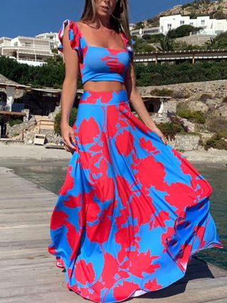 Two Piece Dress Set Sleeveless Square Neck Ruffled Printed Cropped Tops High Waisted Skirt Maxi Summer Dresses
