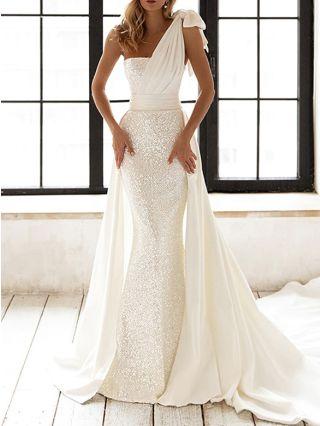 Women White Wedding Dress Tube Top One Shoulder Bowknot Sequins Floor Length Evening Prom Dresses