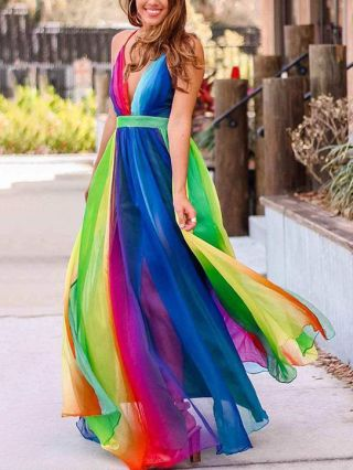 Deep V-Neck Open Back Slip Dress Rainbow Stitching Color Gauze Maxi Summer Dresses