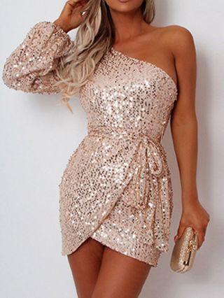 One Shoulder Long Sleeve Sequins Belted Irregular Short Bodycon Party Evening Dress